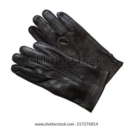 Black leather gloves isolated on white background.