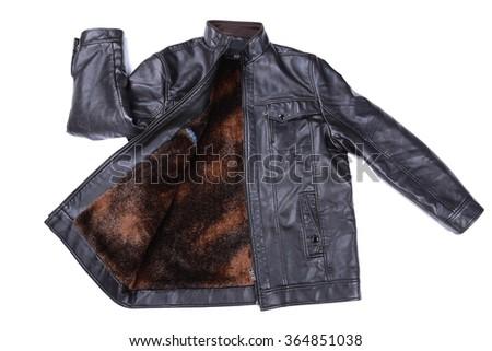 black leather jacket isolated on white background - stock photo