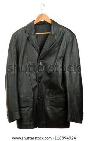 black leather Jacket on  wooden hanger, isolated on white