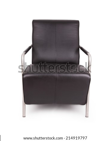 Black leather lounge chair, isolated on white