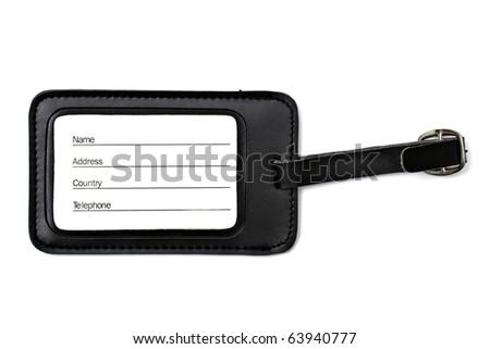 Black leather Luggage tag isolated on white background - stock photo