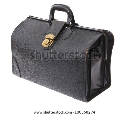 Black leather medical bag on white background