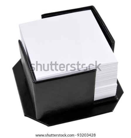 Black leather memo pad holder with blank white memo paper, isolated on a white background. - stock photo