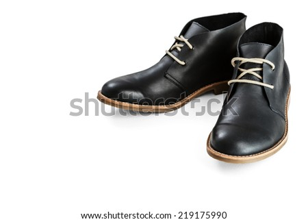 Black leather men's shoes -Clipping Path - stock photo