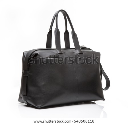 Black leather men travel bag on a white background