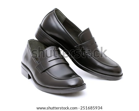 Black leather mens shoes isolated on white background