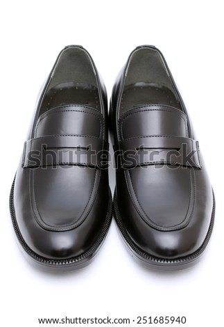 Black leather mens shoes isolated on white background - stock photo