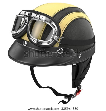 Black leather motorcycle helmet with goggles retro style. 3D graphic object on white background isolated
