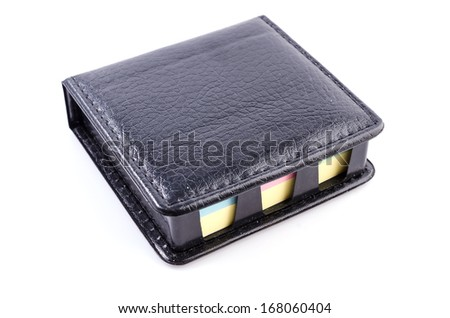 Black Leather note box on isolated white background