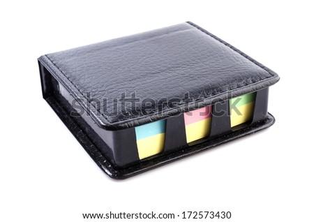 Black Leather note box on isolated white background - stock photo