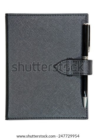 Black leather notebook and pen isolated on white background - stock photo