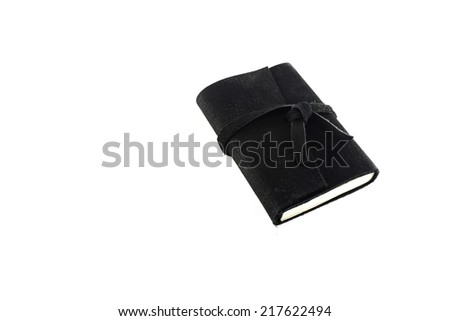 Black Leather notebooks isolated on white
