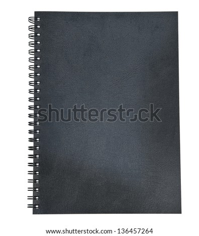 black leather of diary book cover isolated white background