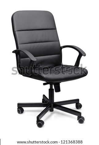 Black leather office chair isolated on whit - stock photo