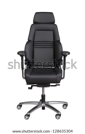 Black leather office chair isolated on white - stock photo