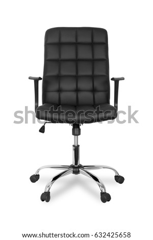 chair on wheels. black leather office chair on wheels isolated white background. i