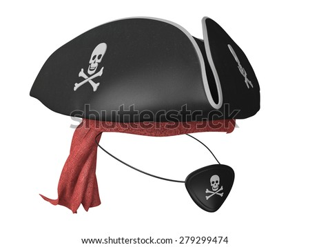 Black leather pirate hat and eyepatch with skulls and a red bandana - stock photo