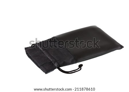Black leather pouch with cord isolated on white background