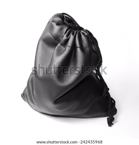 Black Leather Pouch with Cord isolated on white background - stock photo