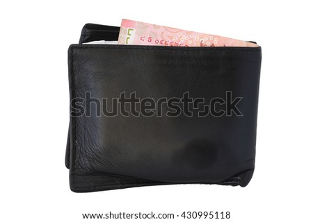 Black leather purse isolated on the white background.