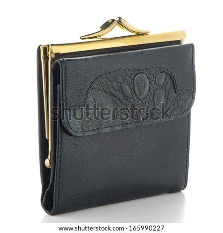 Black leather purse isolated on white background.