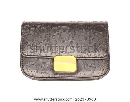 Black leather purse isolated on white background. - stock photo