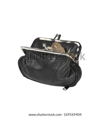 black leather purse with coins on white background