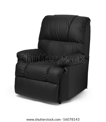Black leather recliner armchair with massage and foot rest, isolated on white.