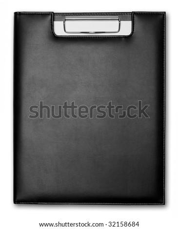 Black leather record on white background - stock photo