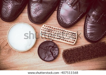 Black leather shoes maintenance set