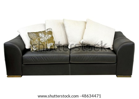 Black leather sofa isolated included clipping path