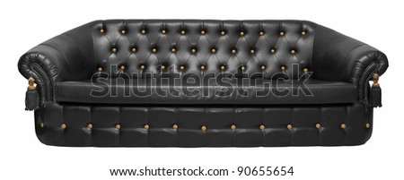 Black leather sofa isolated on white background with clipping path. - stock photo