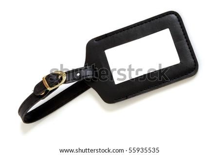 black leather suitcase label isolated on white background - stock photo