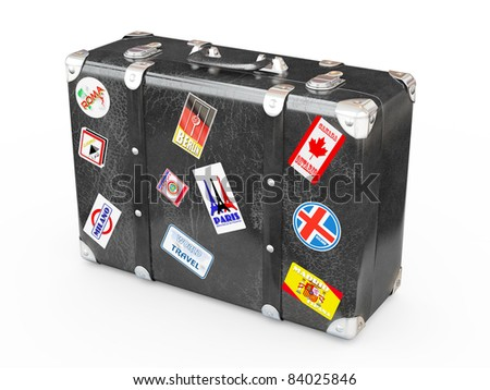 Black leather suitcase with travel stickers. 3d - stock photo