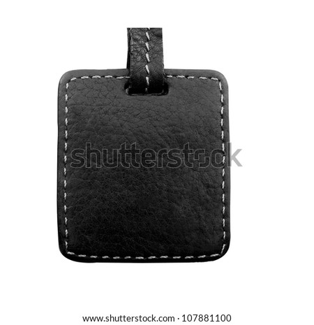 Black Leather Tag Label - stock photo