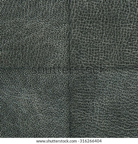 black leather texture closeup decorated  with seam
