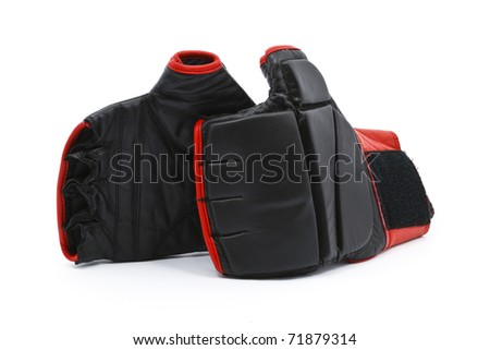 Black leather training boxing gloves isolated on white background