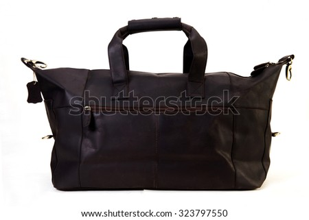 black leather travel bag for exclusive looks and style isolated on white available with clipping mask - stock photo