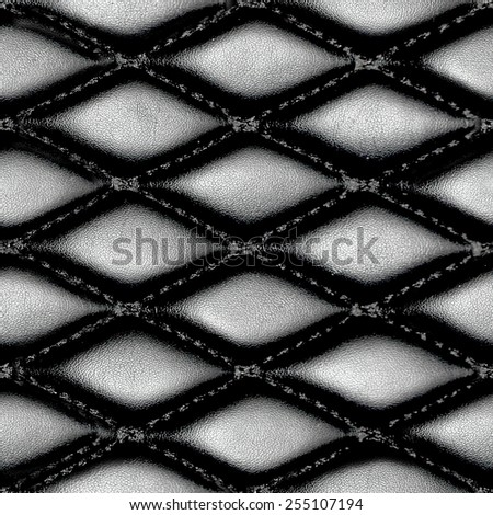Black leather upholstery, seamless texture - stock photo