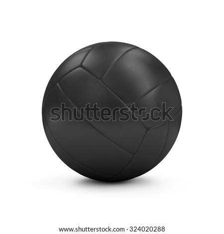 Black Leather Volley Ball isolated on white background. Sport and Recreation Concept - stock photo