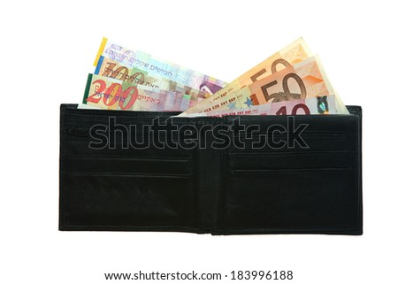 Black leather waller with Euro notes Shekels and