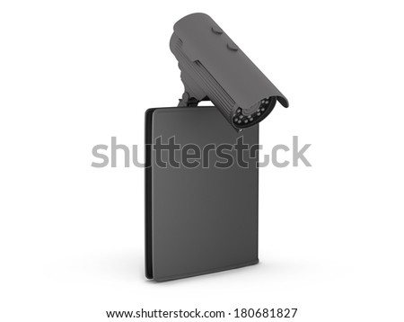Black leather wallet and video surveillance camera on white background