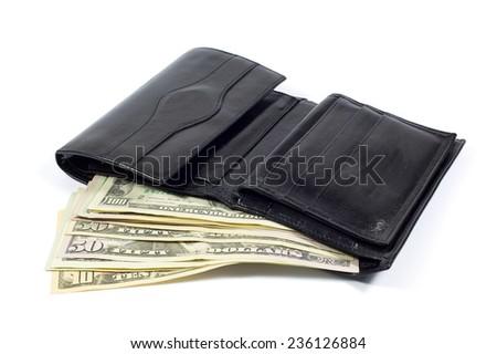 Black Leather Wallet Full of Money Isolated on White Background - stock photo