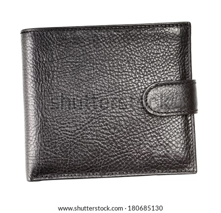 black leather wallet, isolated on white background - stock photo