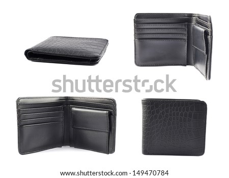 Black leather wallet isolated over white background, set of four foreshortenings - stock photo