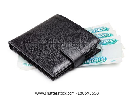 black leather wallet with cash, isolated on white - stock photo