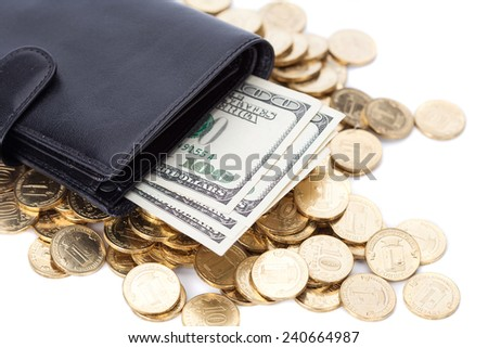 Black leather wallet with dollars and golden coins on white