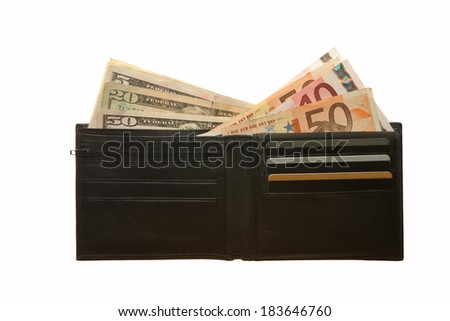Black leather wallet with Euro and Dollar notes  - stock photo