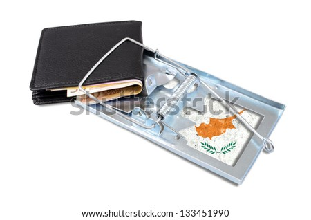 Black leather wallet with money, caught in a Cyprus trap. - stock photo