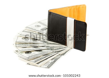 Black leather wallet with money dollars on a white background